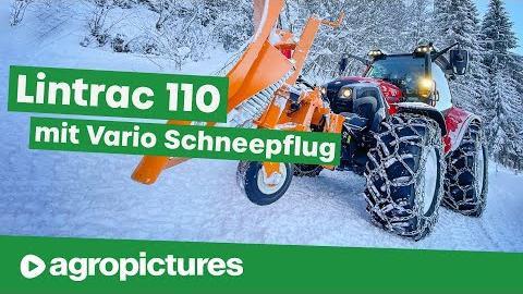 Schneeräumung mit Vario Schneepflug am Lindner Lintrac 110 | Traktortechnik im Winterdienst
